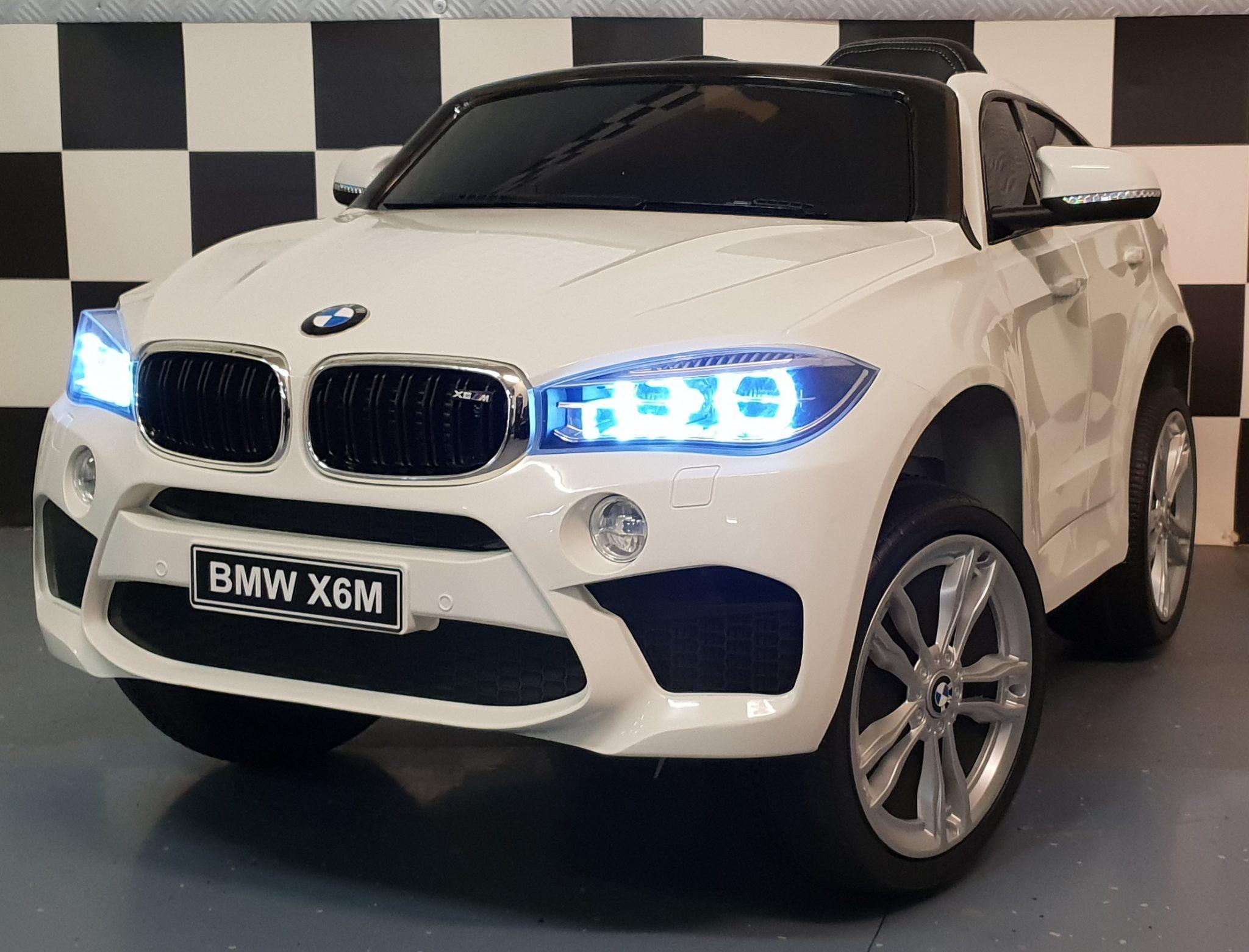 Kinderauto BMW X6 M Wit 12V 2.4G afstandbediening soft start