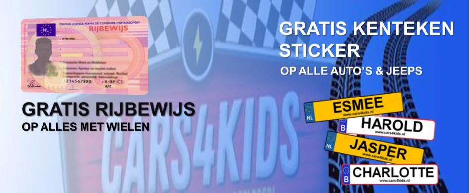 Gratis kentekenstickers met naam op alle elektrische kinderauto's