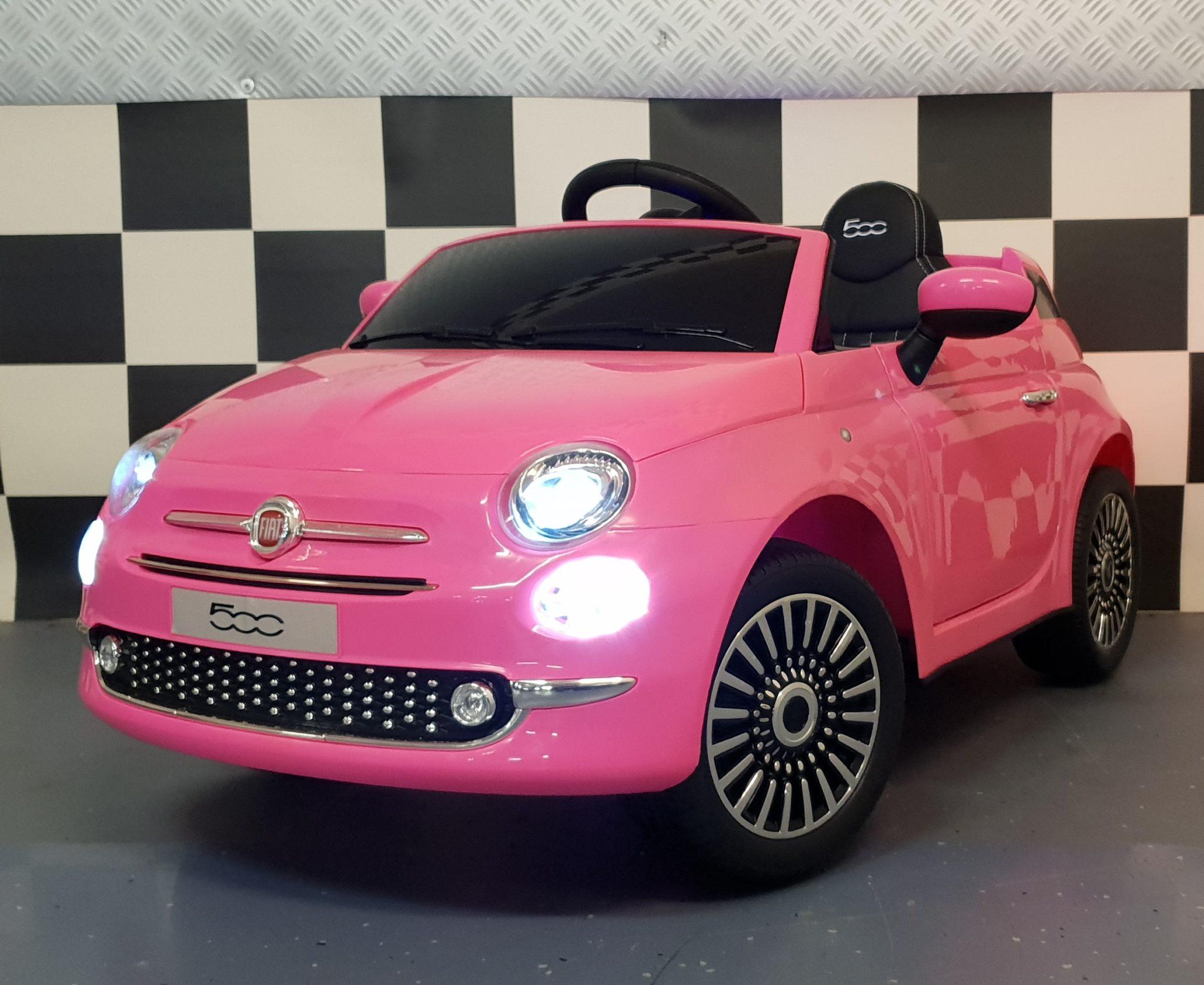 Fiat 500 accu kinder speelgoedauto 12 volt met afstandbediening roze