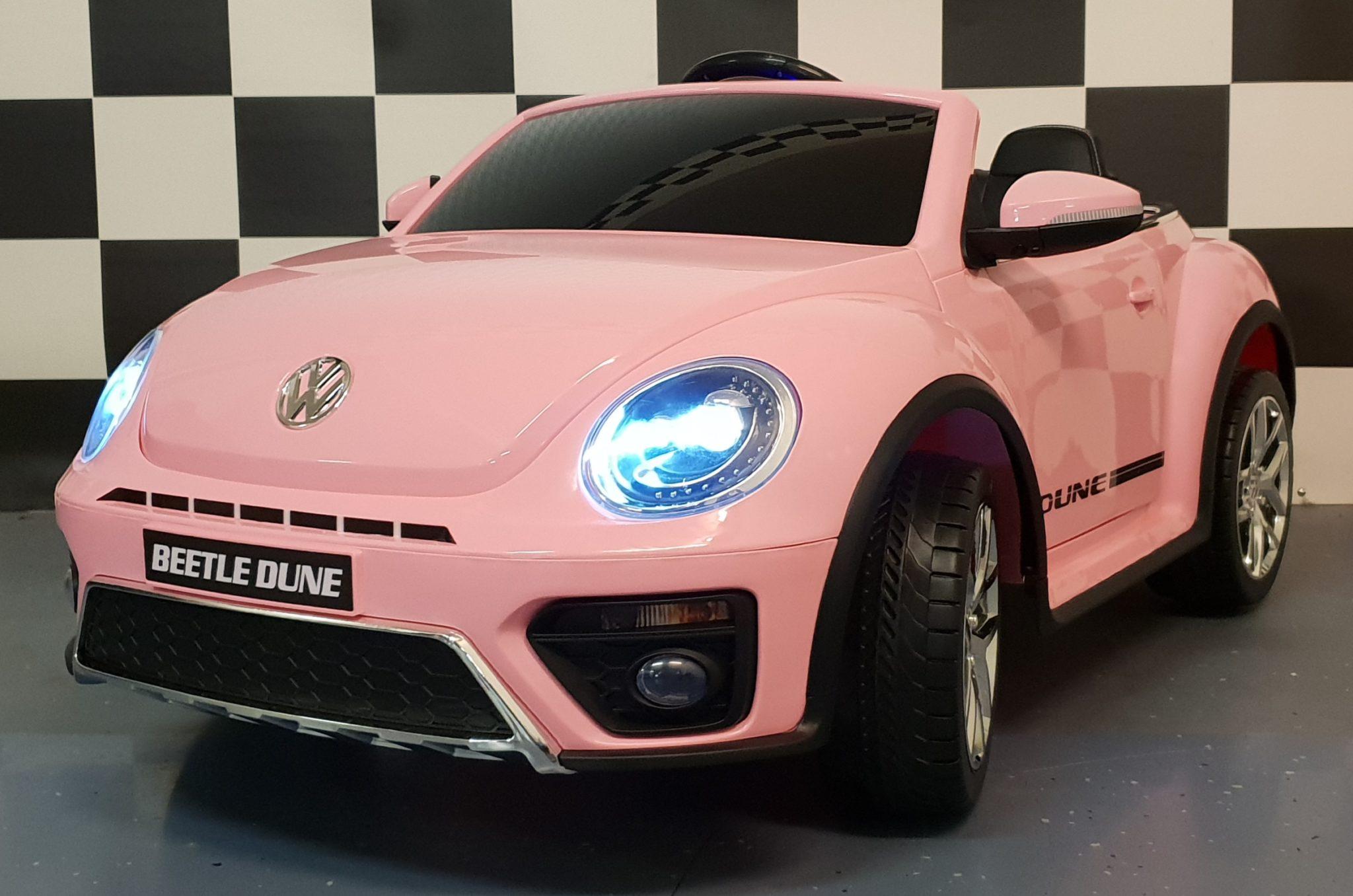 VW Beetle elektrische kinderauto 12 volt  soft start Roze