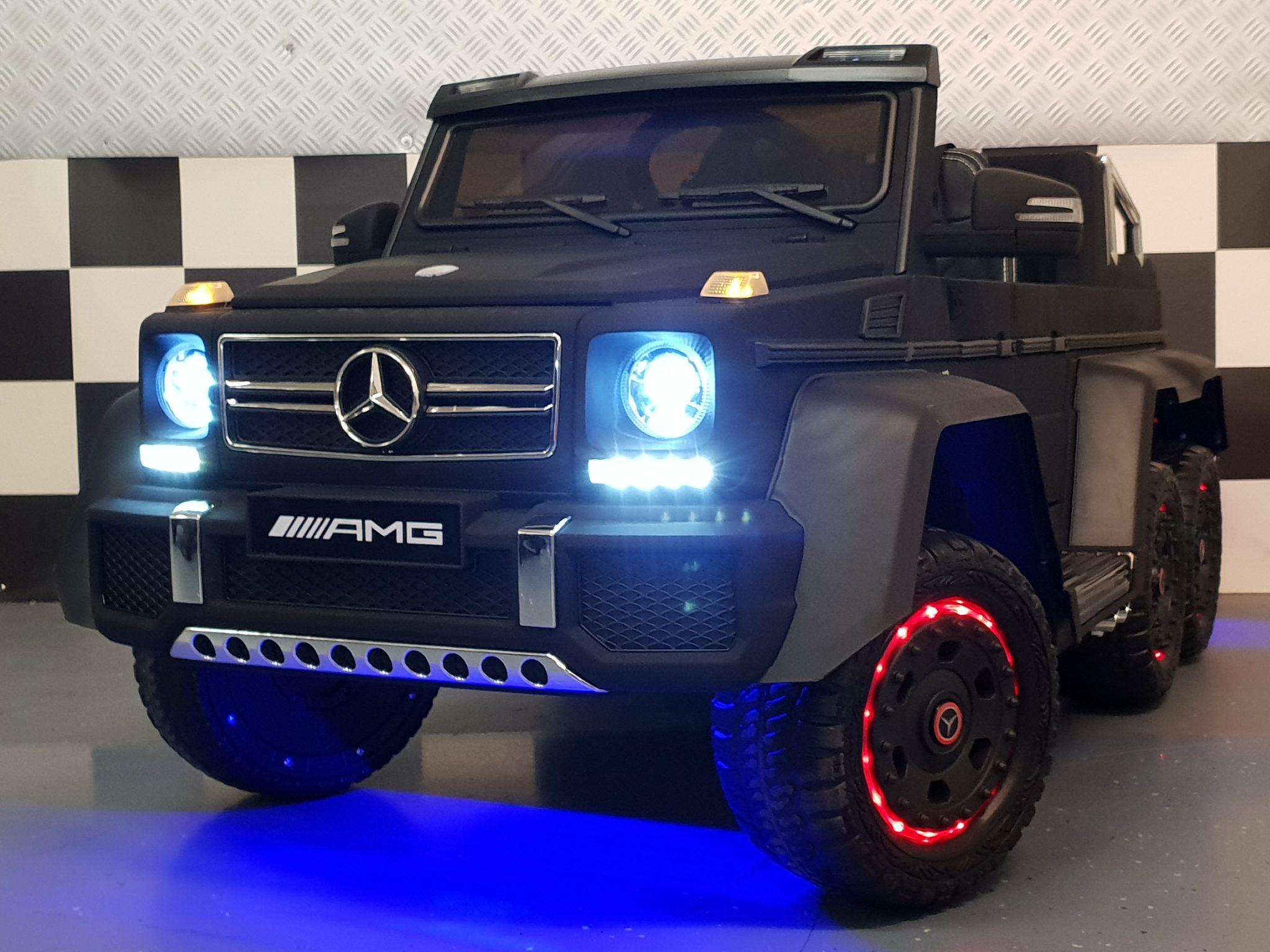 Elektrische kinderauto Mercedes Benz 6×6 G63 AMG duo zit met RC mat zwart