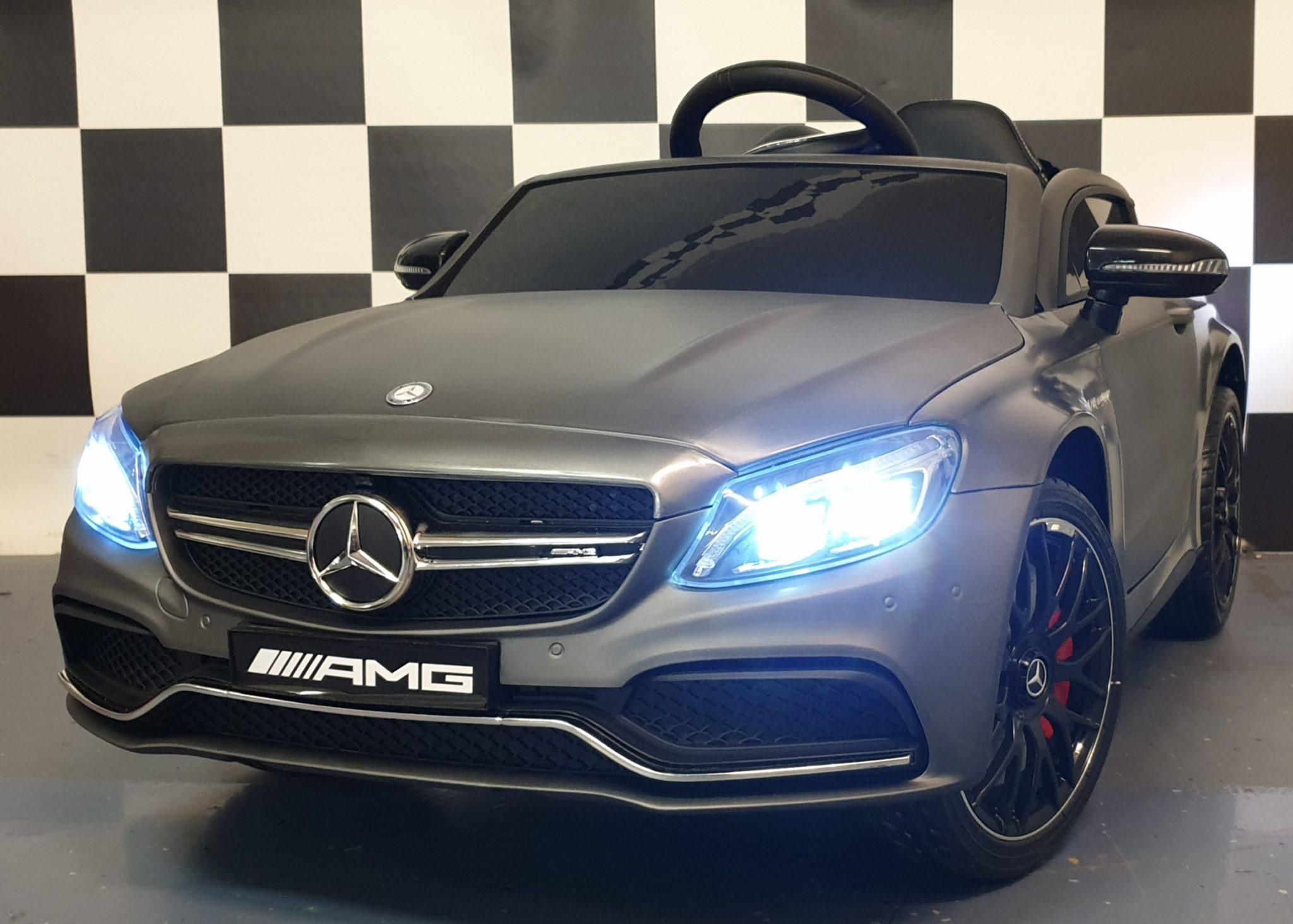 Mercedes C63 AMG elektrische kinderauto 12 volt, 2.4G afstandbediening Mat grijs