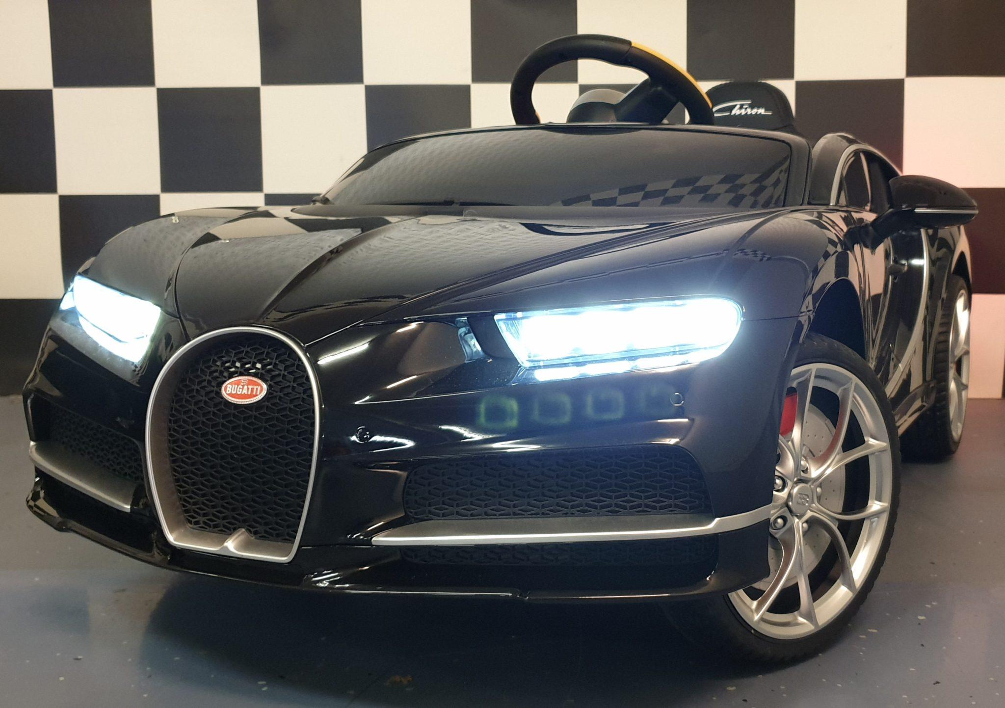Elektrische Kinderauto Bugatti Chiron metallic zwart 2.4G RC 12 volt
