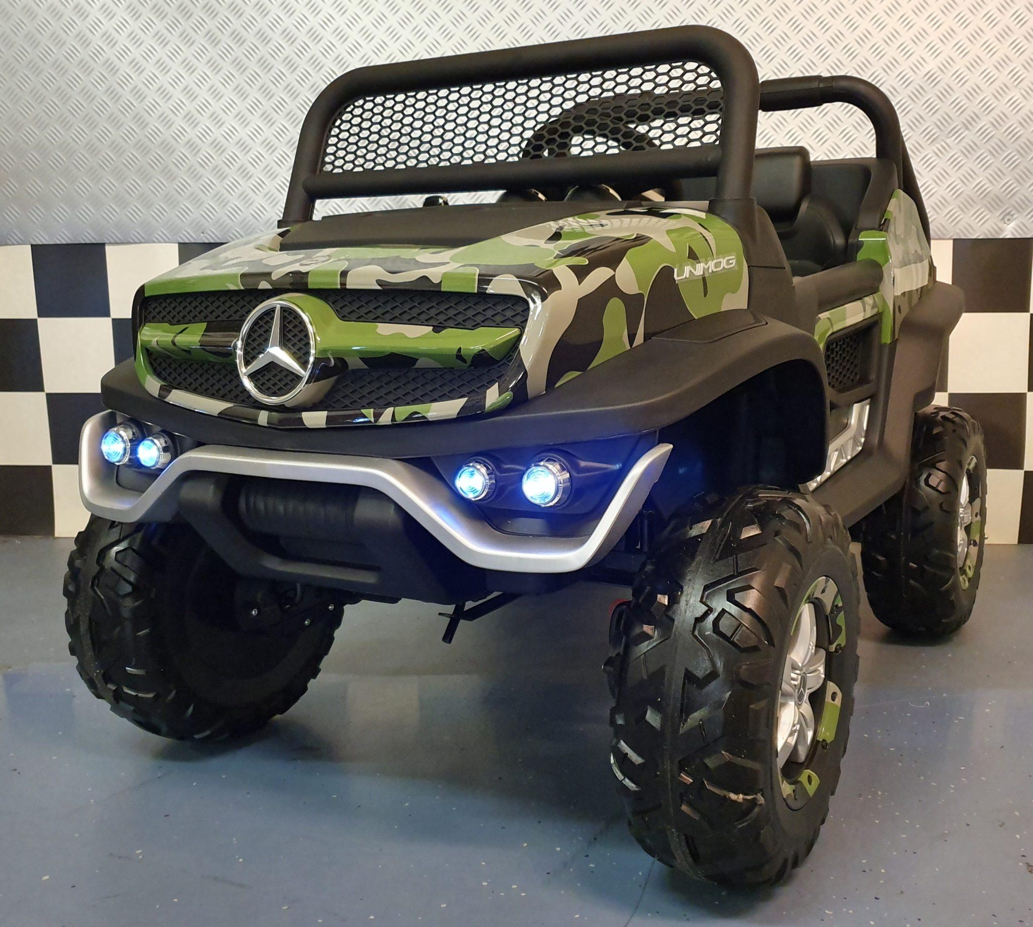 Elektrische kinder auto Mercedes Unimog camouflage 4×4 2 persoons