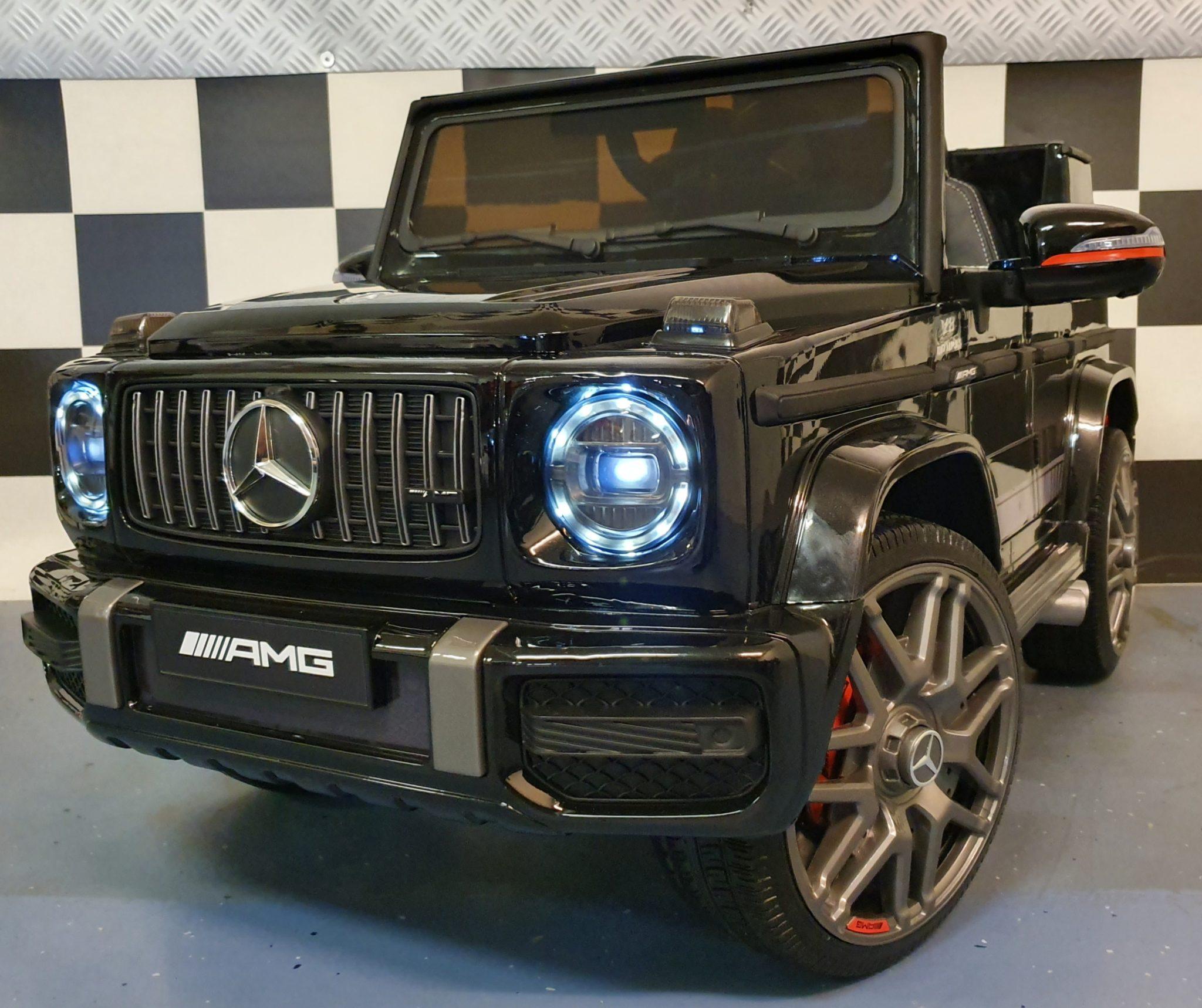 Kinderauto Mercedes G63 12V zwart met soft start 1 persoons