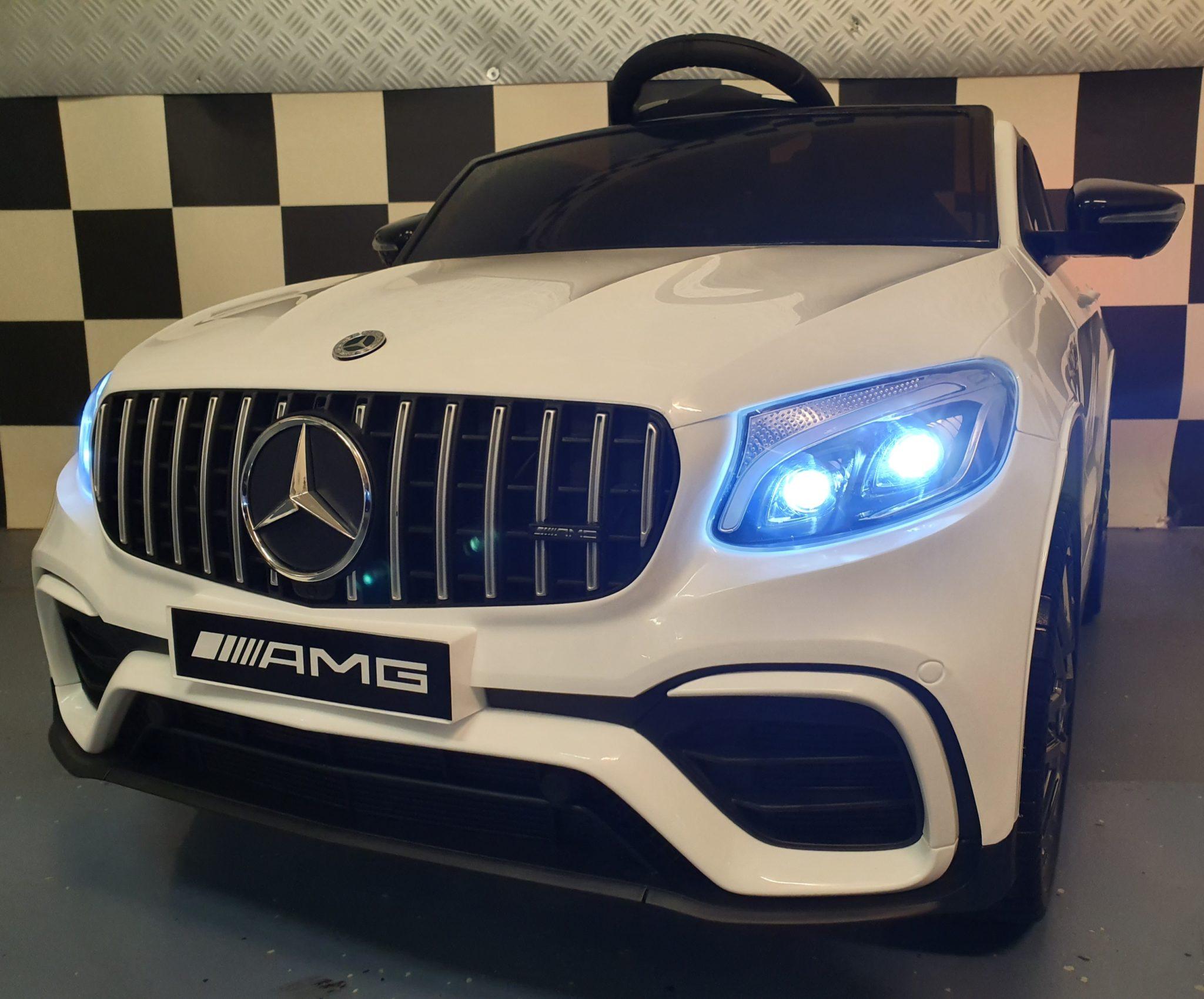 Elektrische accu auto Mercedes AMG GLC 12 Volt wit met MP4