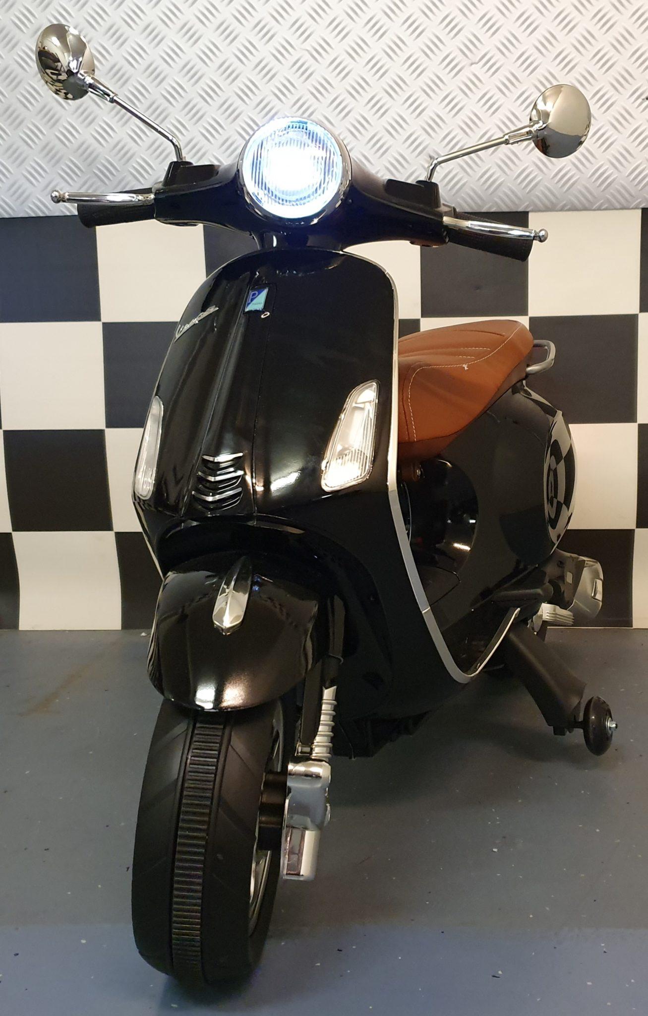 Elektrische Vespa kinderscooter Primavera 12 volt metallic zwart