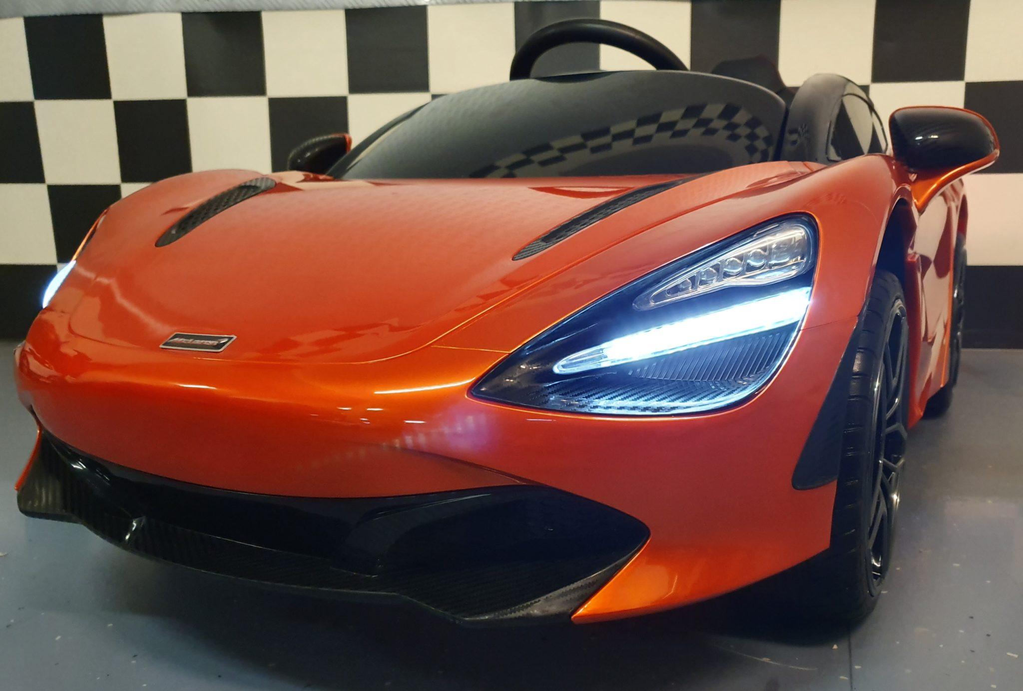 Kinder auto McLaren 720S elektrische accu auto 12V met RC Metallic Oranje