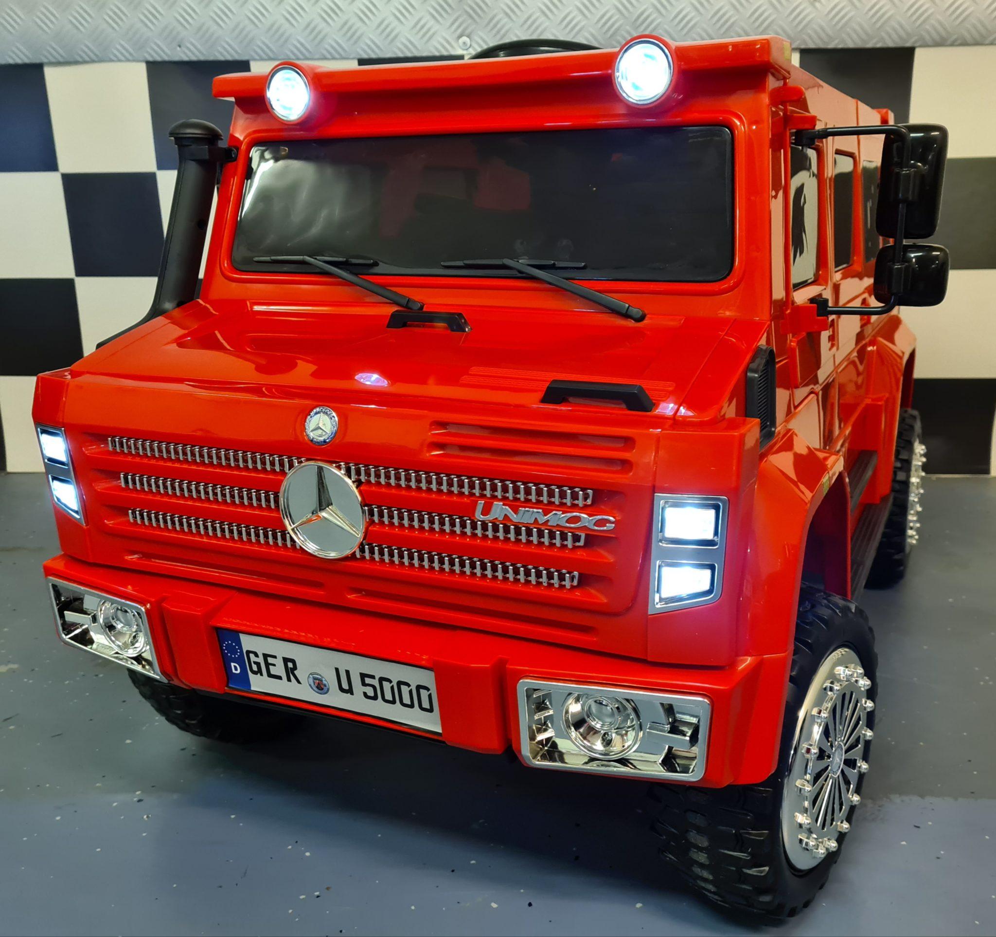 Elektrische kinderjeep Mercedes Unimog 2.4G RC 12Volt 1 persoons rood