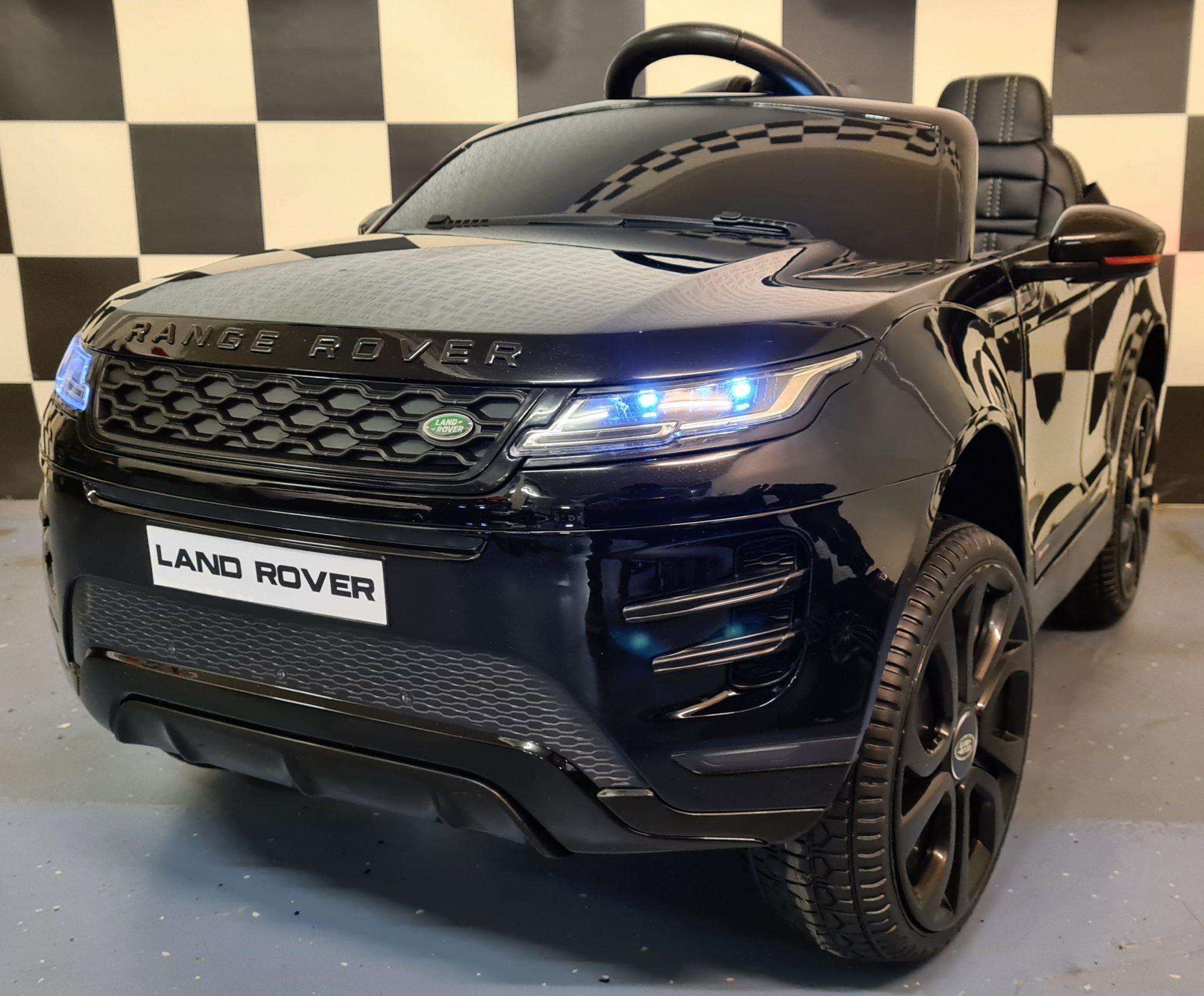 Accu kinderauto Range Rover Evoque 4×4 met MP4 12Volt en 2.4G RC metallic zwart