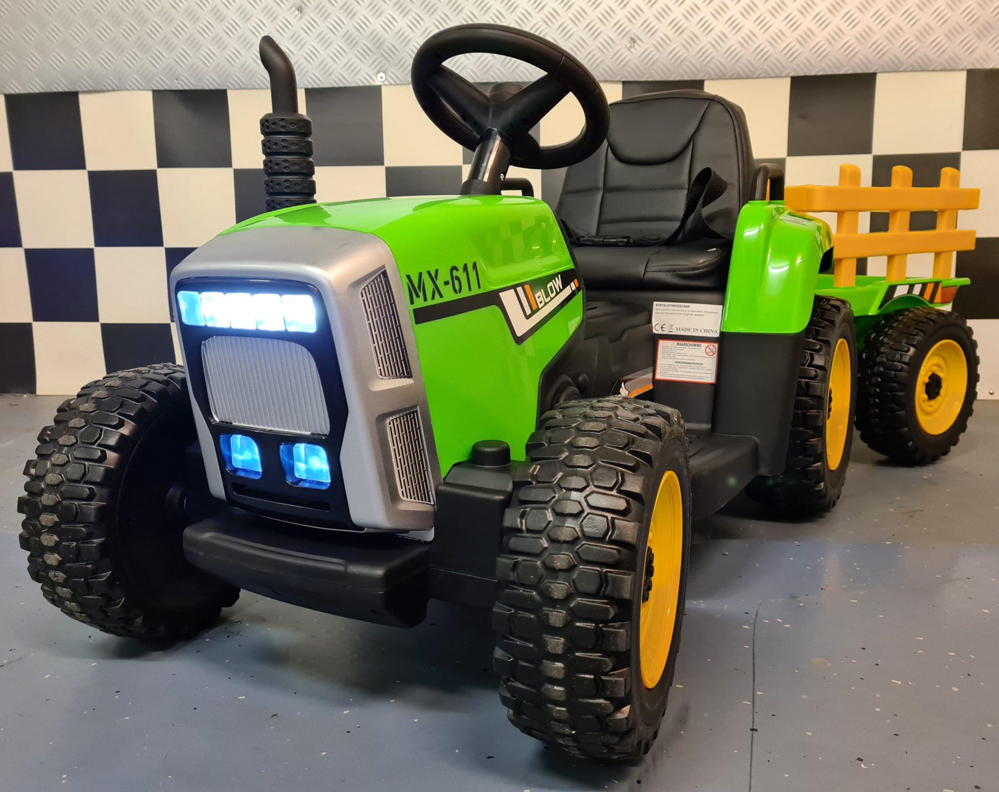 Kinder accu tractor 12 volt met aanhanger en RC groen