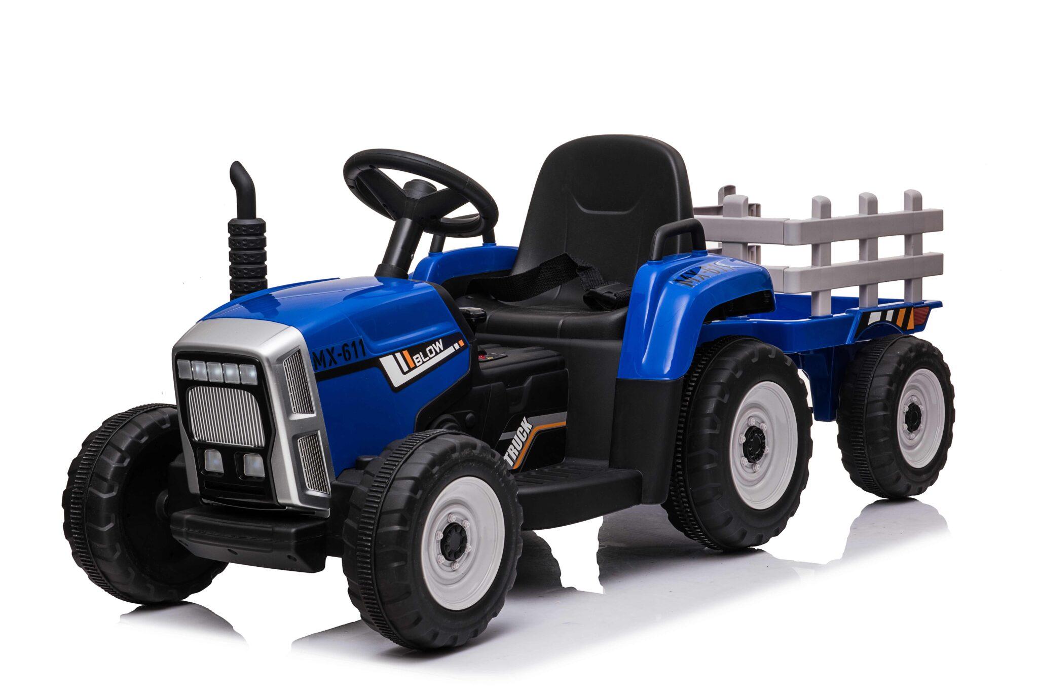 Elektrische speelgoed tractor 12 volt met aanhanger en RC blauw