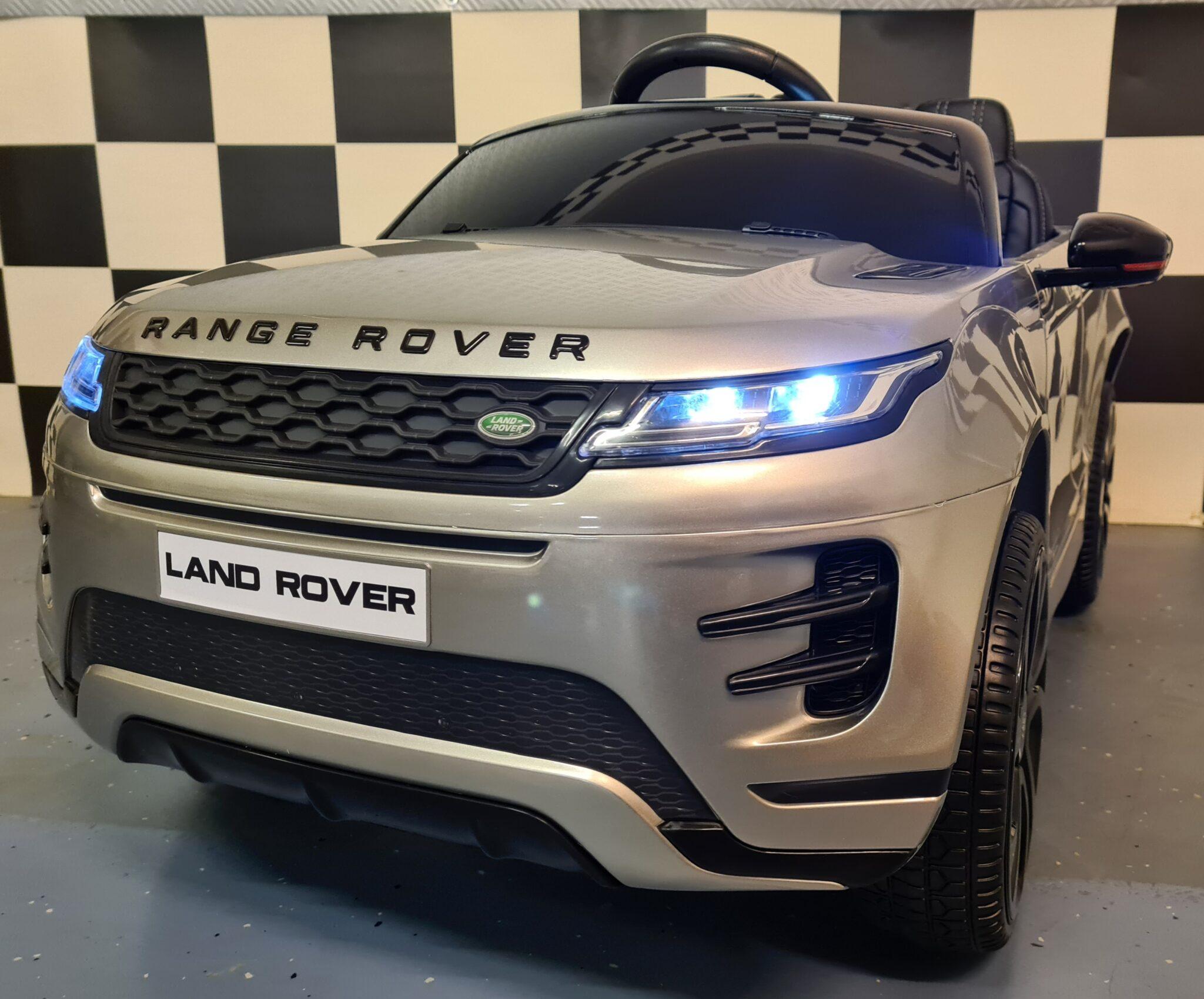 Accu speelgoedauto Range Rover Evoque 4×4 met MP4 12Volt en 2.4G RC metallic grijs