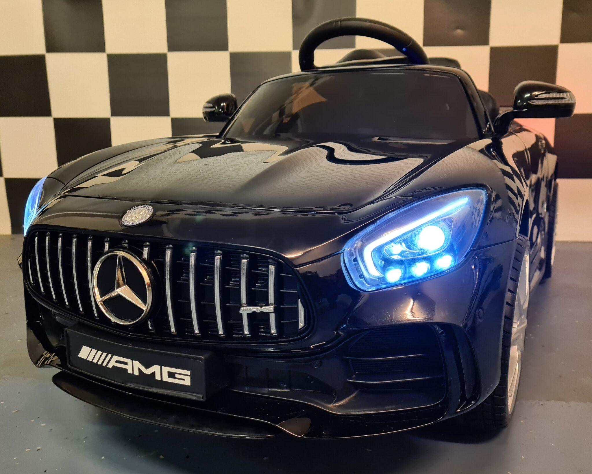 Elektrische kinderauto Mercedes GTR metallic zwart