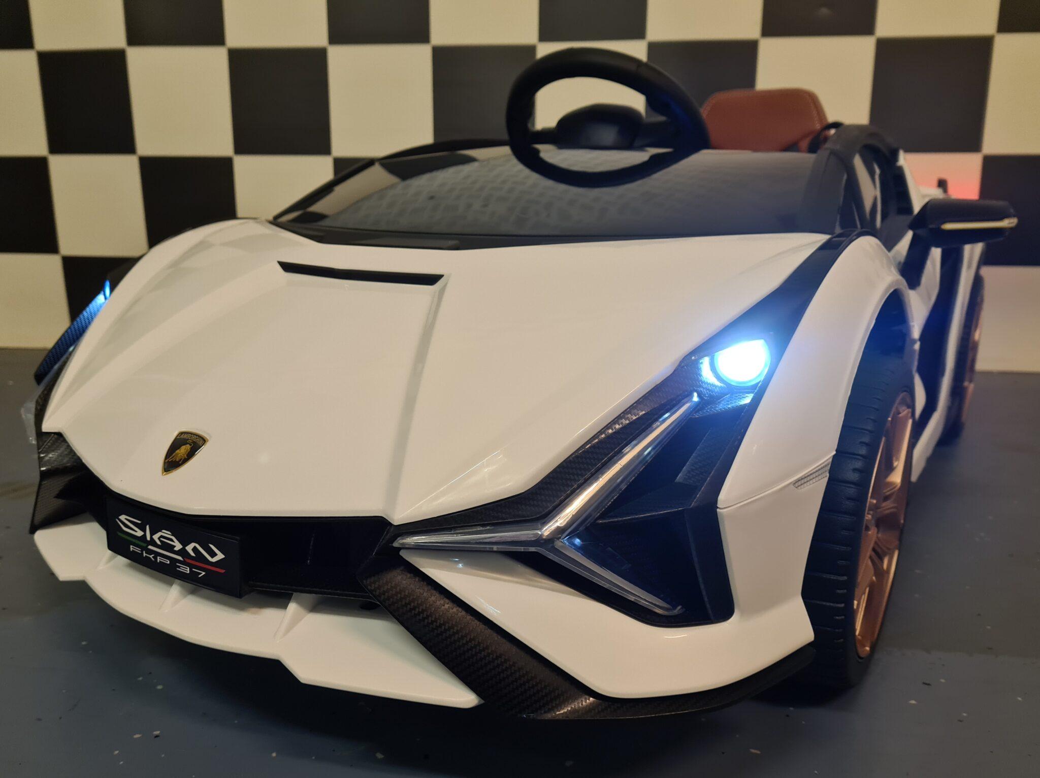 Kinderauto Lamborghini Sian 12 volt met afstandsbediening en MP4 wit