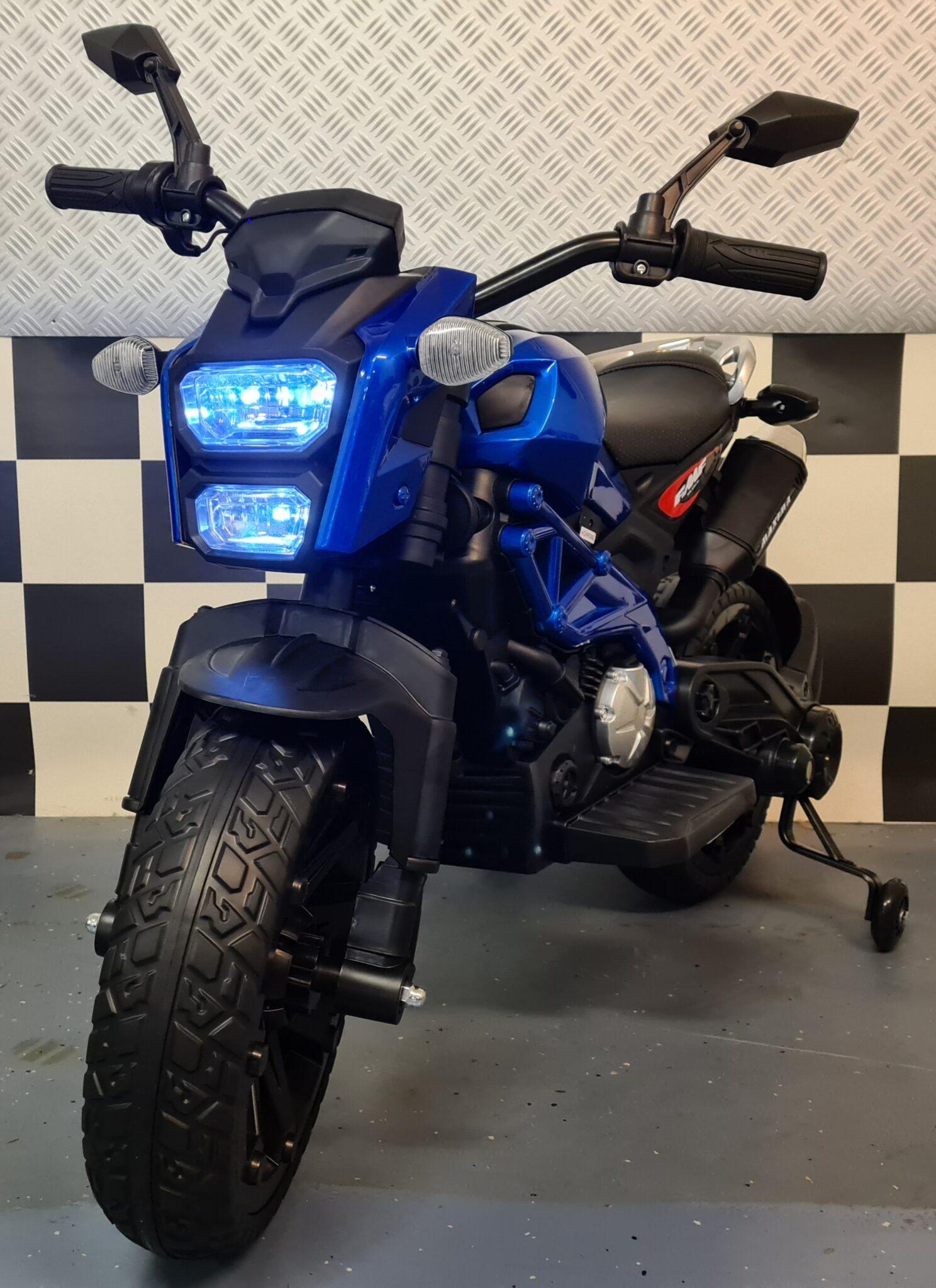 Kindermotor Grom Superbike 12 volt metallic blauw
