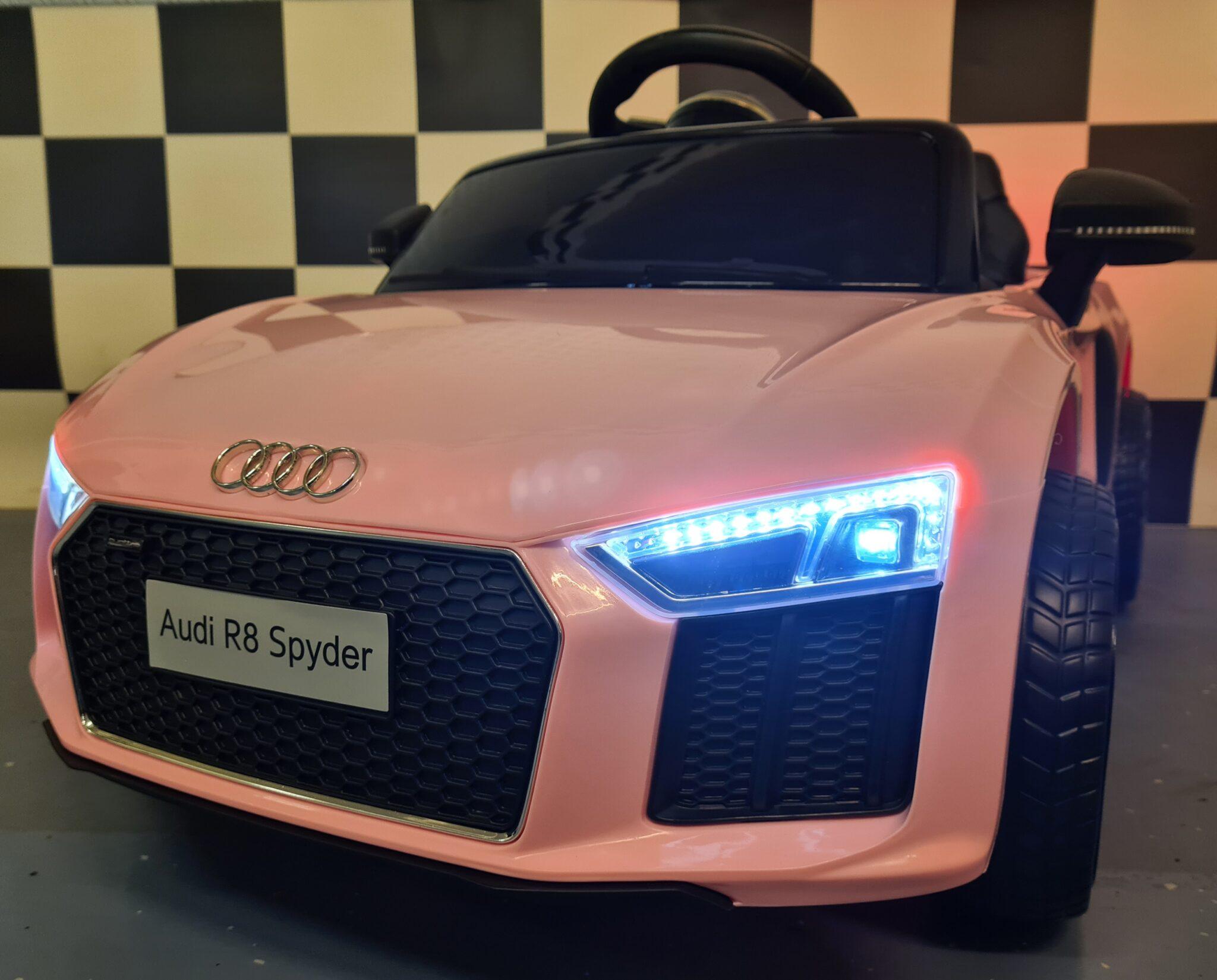 Elektrische kinderauto Audi R8 met RC en 12 volt roze 1persoons