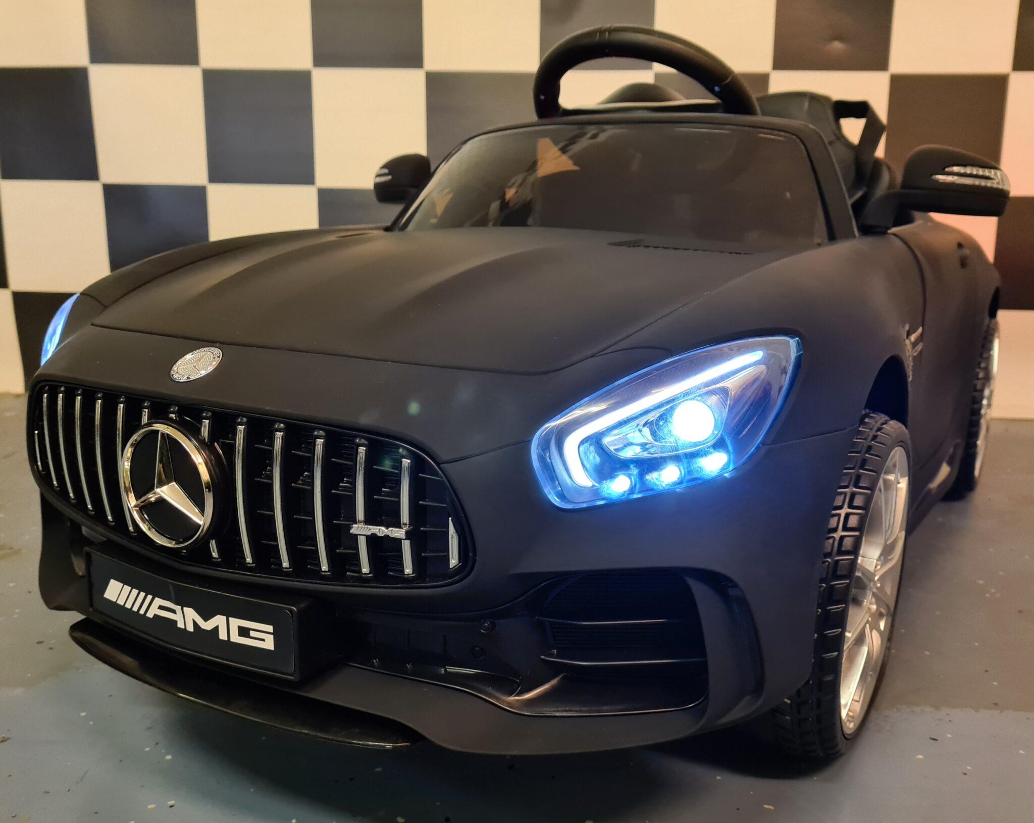Mercedes GTR accu kinderauto mat zwart 12volt met rc