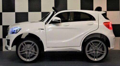 12 volt kinderauto Mercedes A45 2.4G afstandbediening wit