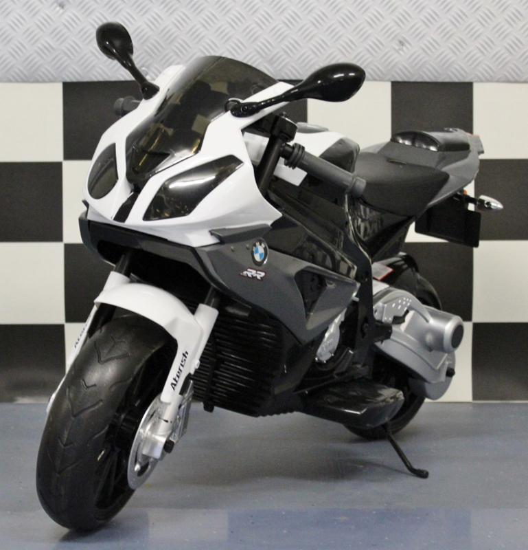 BMW kindermotor S1000 RR 12 volt rubberen banden grijs