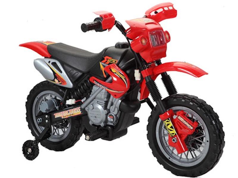 Speelgoed motor elektrische accu Crossmotor 6 volt rood