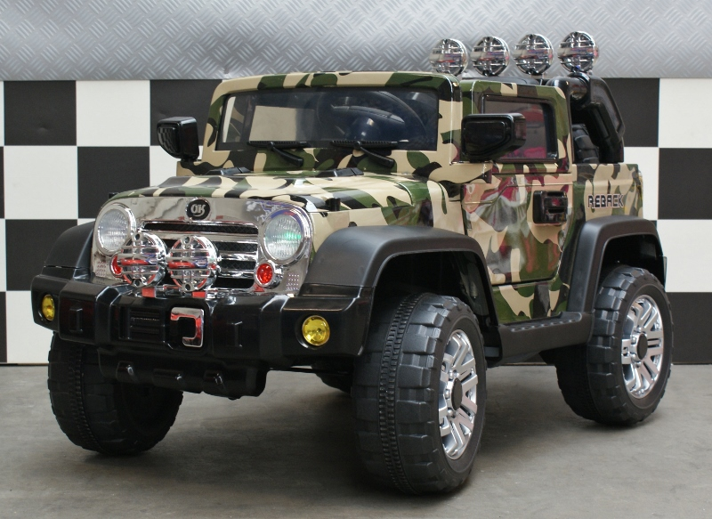 Elektrische kinderjeep Camouflage 12V 2.4G RC soft start en radio