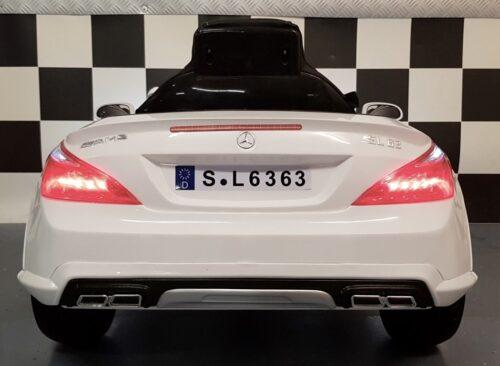 Witte Mercedes SL63 12 volt kinderauto