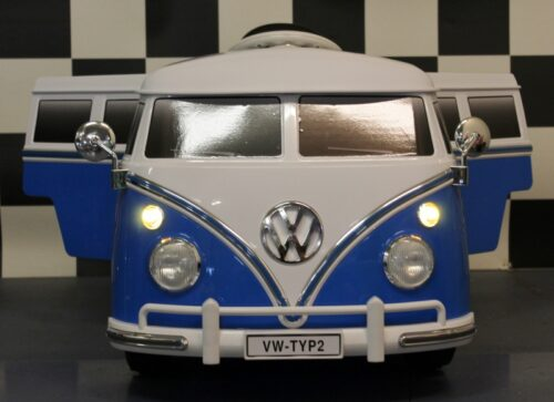 Volkswagen kinder bus blauw 12v rc