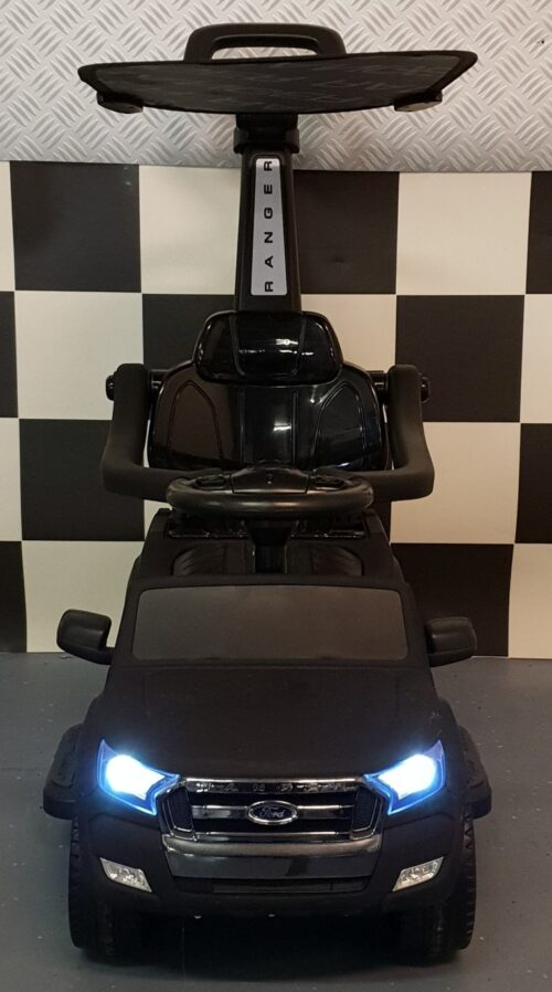 6 volt mini Ford Ranger kinderauto met loop en duw functie mat zwart