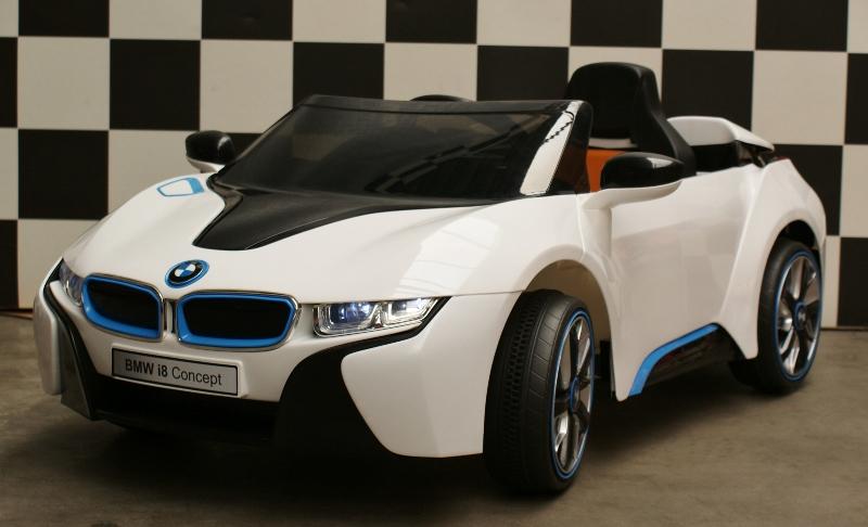Accu Kinderauto BMW i8 accu auto 12V RC 2.4G RC lederen zitting wit