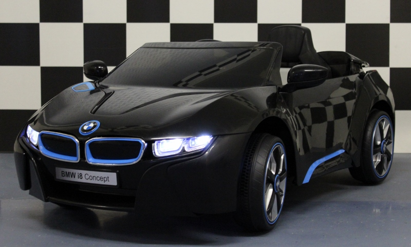 kinder accu auto bmw i8 zwart met 2 4g afstandbediening en. Black Bedroom Furniture Sets. Home Design Ideas
