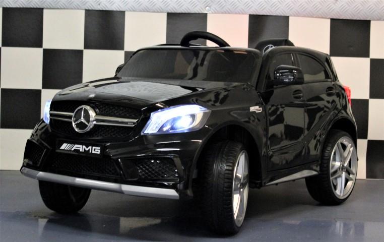Mercedes Kinderauto A45 AMG metallic zwart 12V 2.4G RC lederen zitting