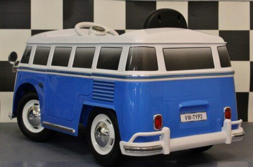 Blauwe Transporter kinder bus elektrisch 12v rc