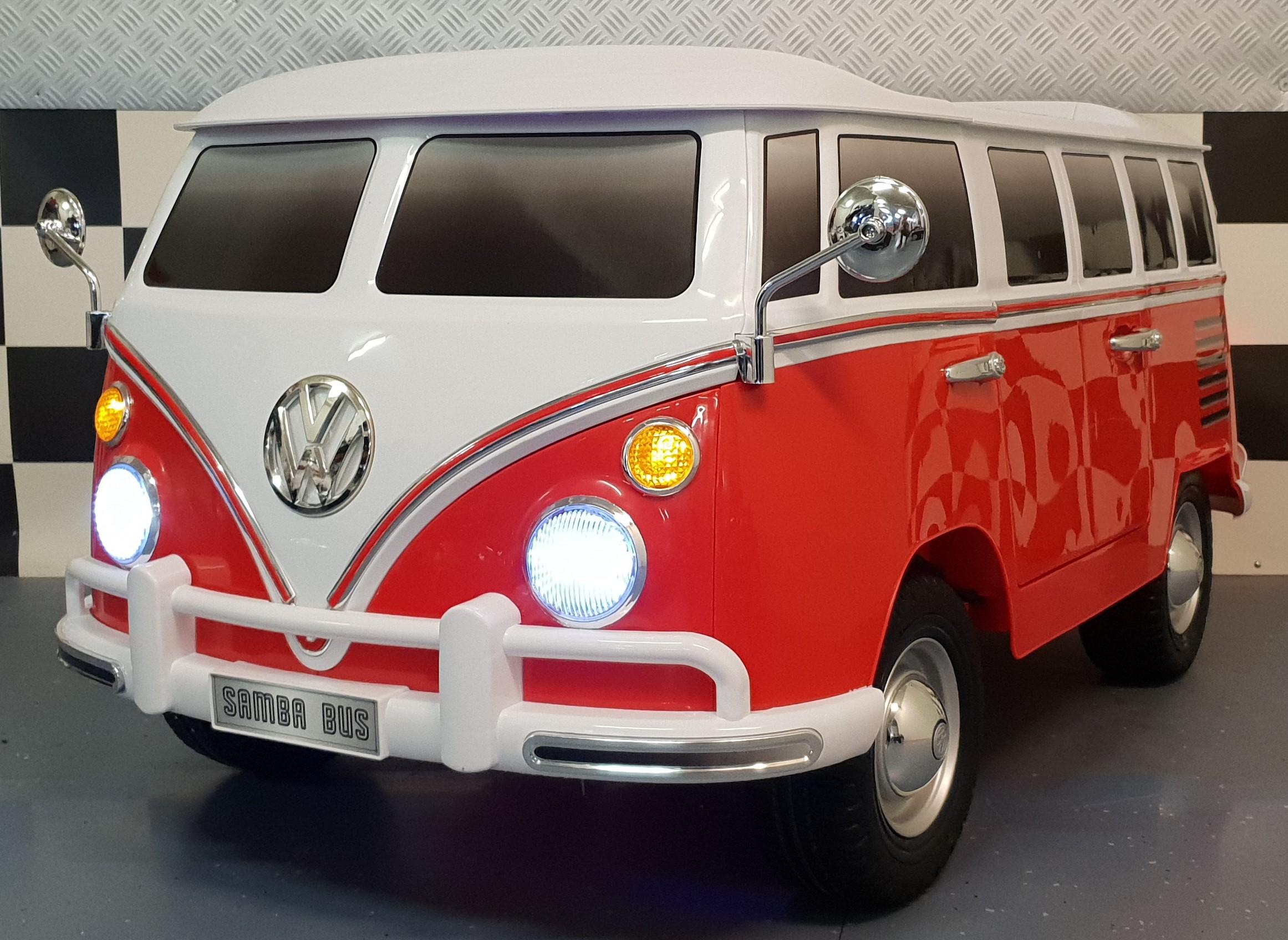 Elektrische Volkswagen Samba T1 kinderbus rood 2 persoons
