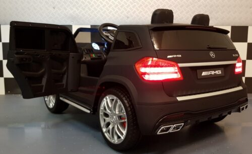 Mat zwarte 2 persoons Mercedes GLS63 kinderauto