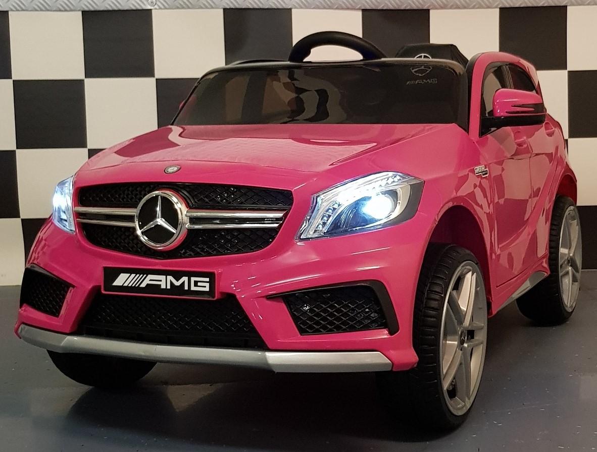 Mercedes A45 kinderauto 12 volt 2.4G afstandbediening roze