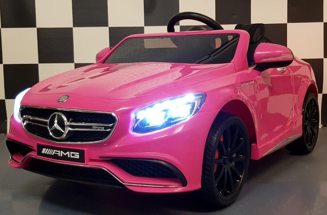 Mercedes S63 AMG kinderauto roze 12 volt, 2.4G afstandbediening