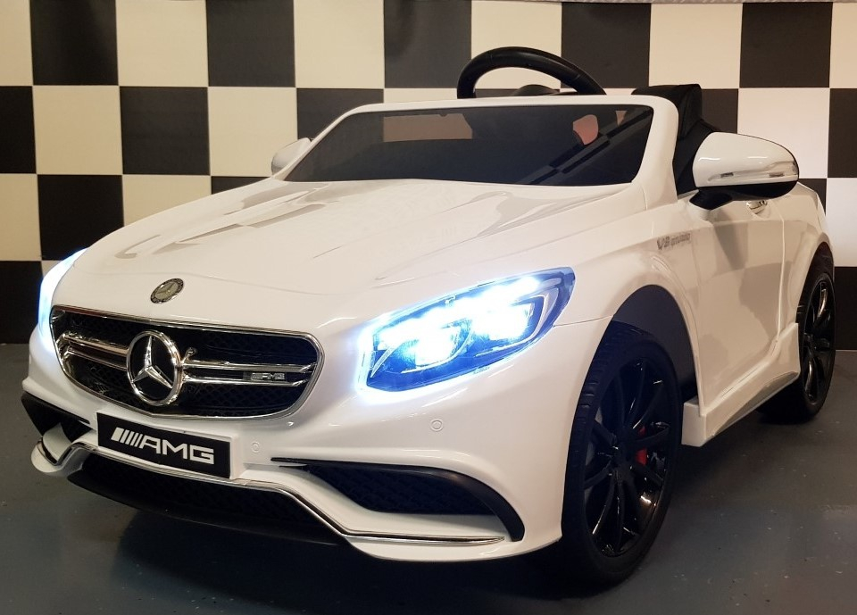 Kinderauto Mercedes S63 AMG Wit 12 volt, 2.4G RC soft start
