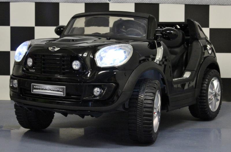 Mini Cooper 1,5 persoons kinderauto 12V met 2.4G RC metallic zwart