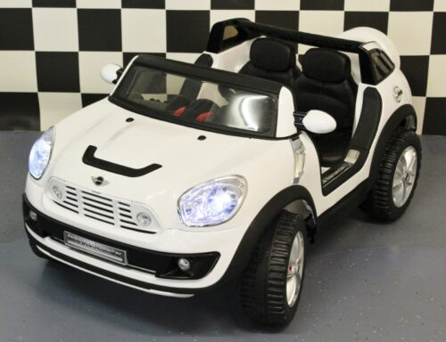 Mini Cooper Beachcomber kinderauto wit met afstandbediening