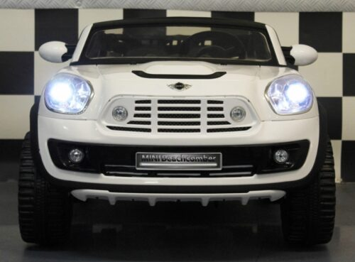 2 persoons witte mini cooper accu auto 12v rc