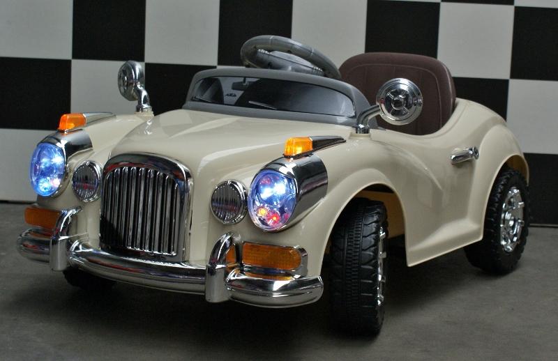 Elektrische kinderauto Mini Oldtimer 2x6v RC beige
