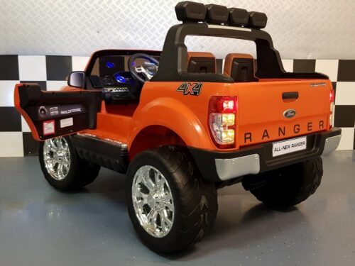 Oranje Ford Ranger kinderauto 2.4G RC bediening 12V accu 4WD