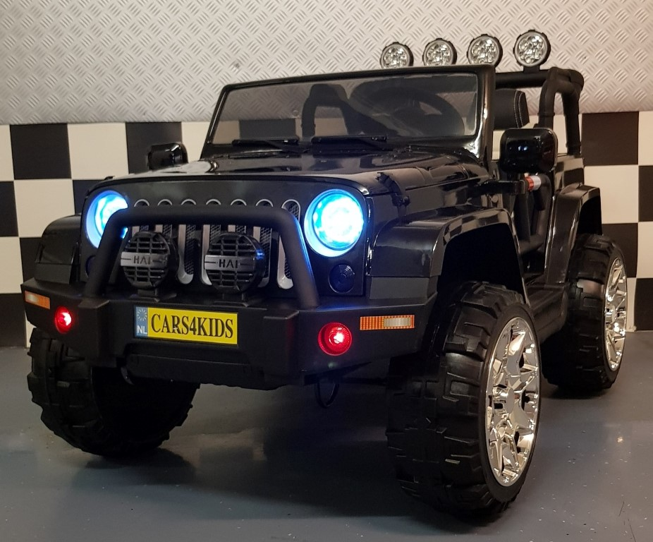 2 persoons Powerjeep 2x12V 4WD 2.4G  afstandbediening metallic zwart