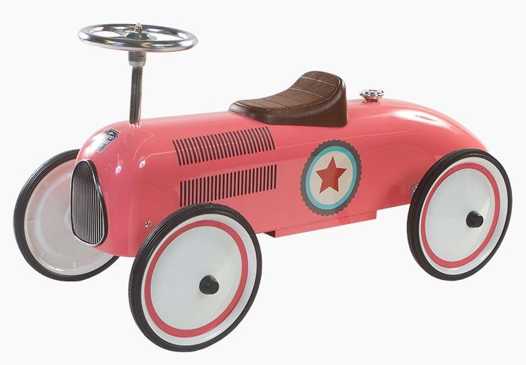 Loopwagen metaal Retro Roller Lara zalm roze