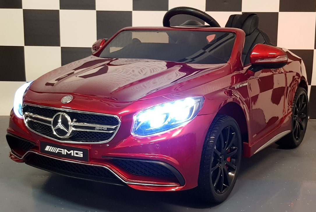 mercedes s63 amg kinderauto metallic rood 12 volt 2 4g rc bediening. Black Bedroom Furniture Sets. Home Design Ideas