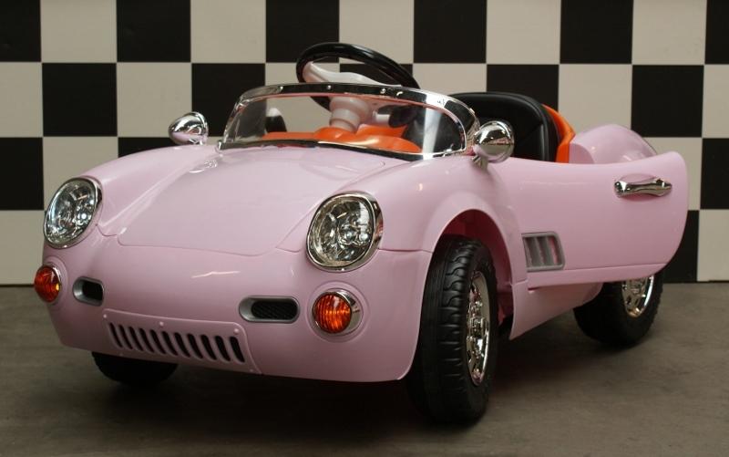 Retro 356 elektrische kinderauto 12V 2.4G RC roze
