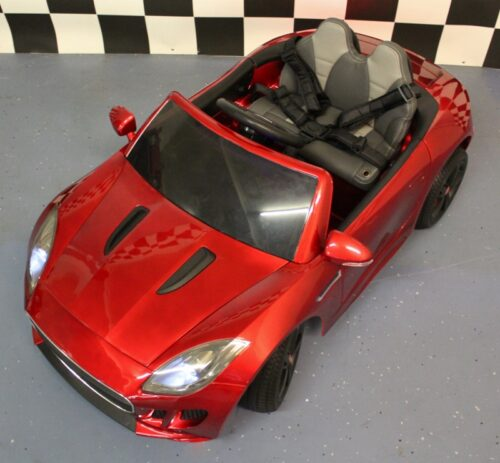speelgoedauto jaguar 12 volt metallic rood