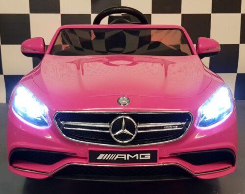 Roze Mercedes S63 elektrische kinderauto 12 volt