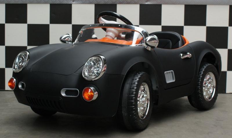 Kinder accu auto Retro 356 12V 2.4G RC mat zwart